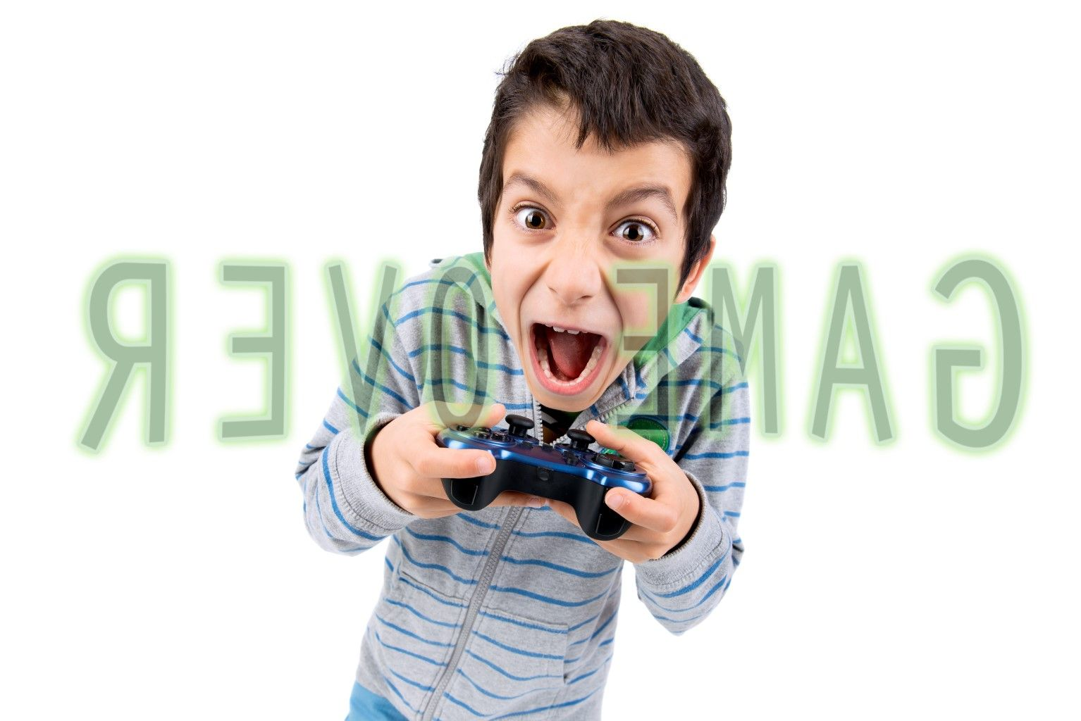 Boy Holding Video Controller GAME OVER LG