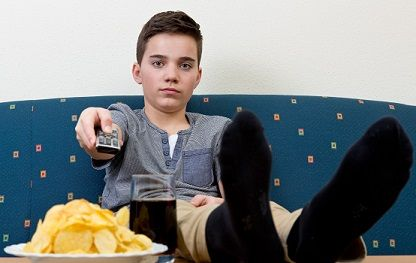 boy couch potato chips holding remote SM